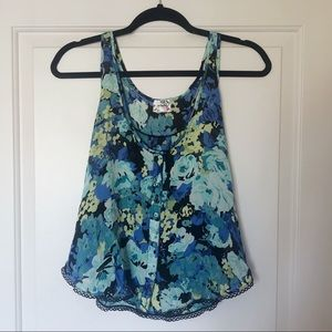 Intimately Free People Floral Button Lace Tank L